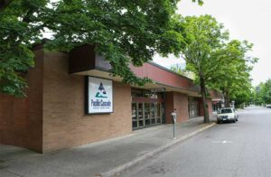 The front entrance to the Downtown branch of Pacific Cascade Federal Credit Union